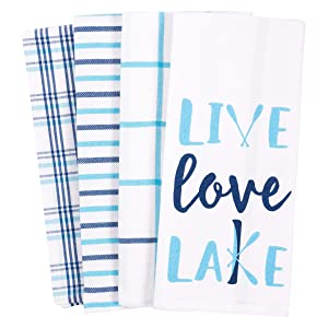 KAF Home Pantry Live Love Lake Kitchen Dish Towel Set of 4, 100-Percent Cotton, 18 x 28-Inch