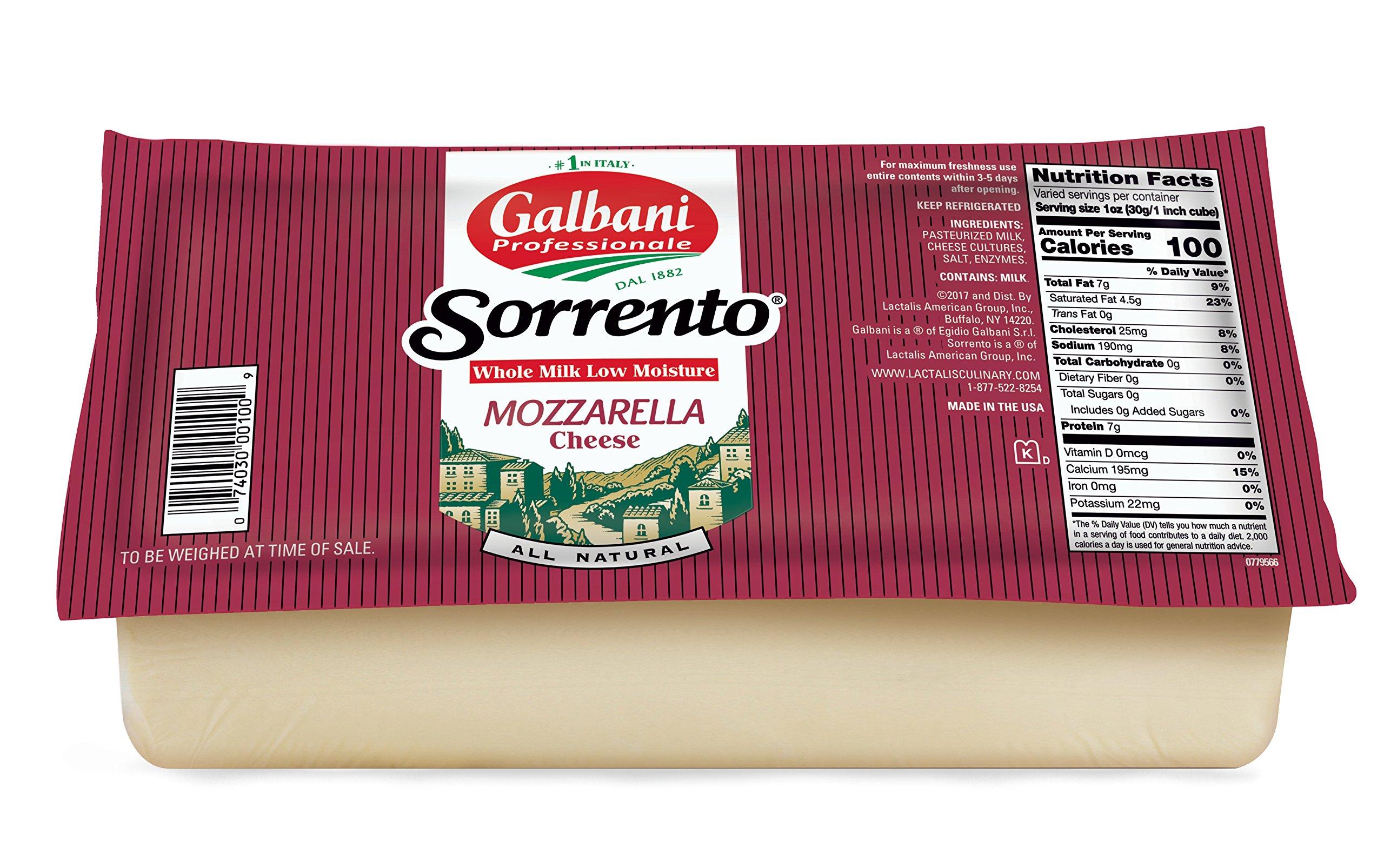 Galbani Whole Milk Low Moisture Mozzarella Block 5 lb, Pack of 8