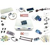 """Arduino Lernset """"UNO 8"""" mit UNO R3, Grundausstattung + Relais +IR-FB +Feuchtigkeitssensoren +Schrittmotor +RFID + Deutsche Anleitung - Funduino Kit """"U3FTMR"""""""