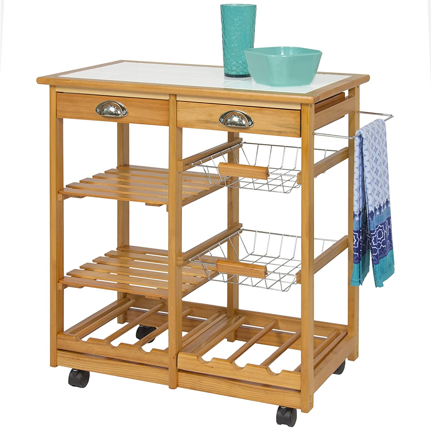 best choice products wood kitchen storage cart dining