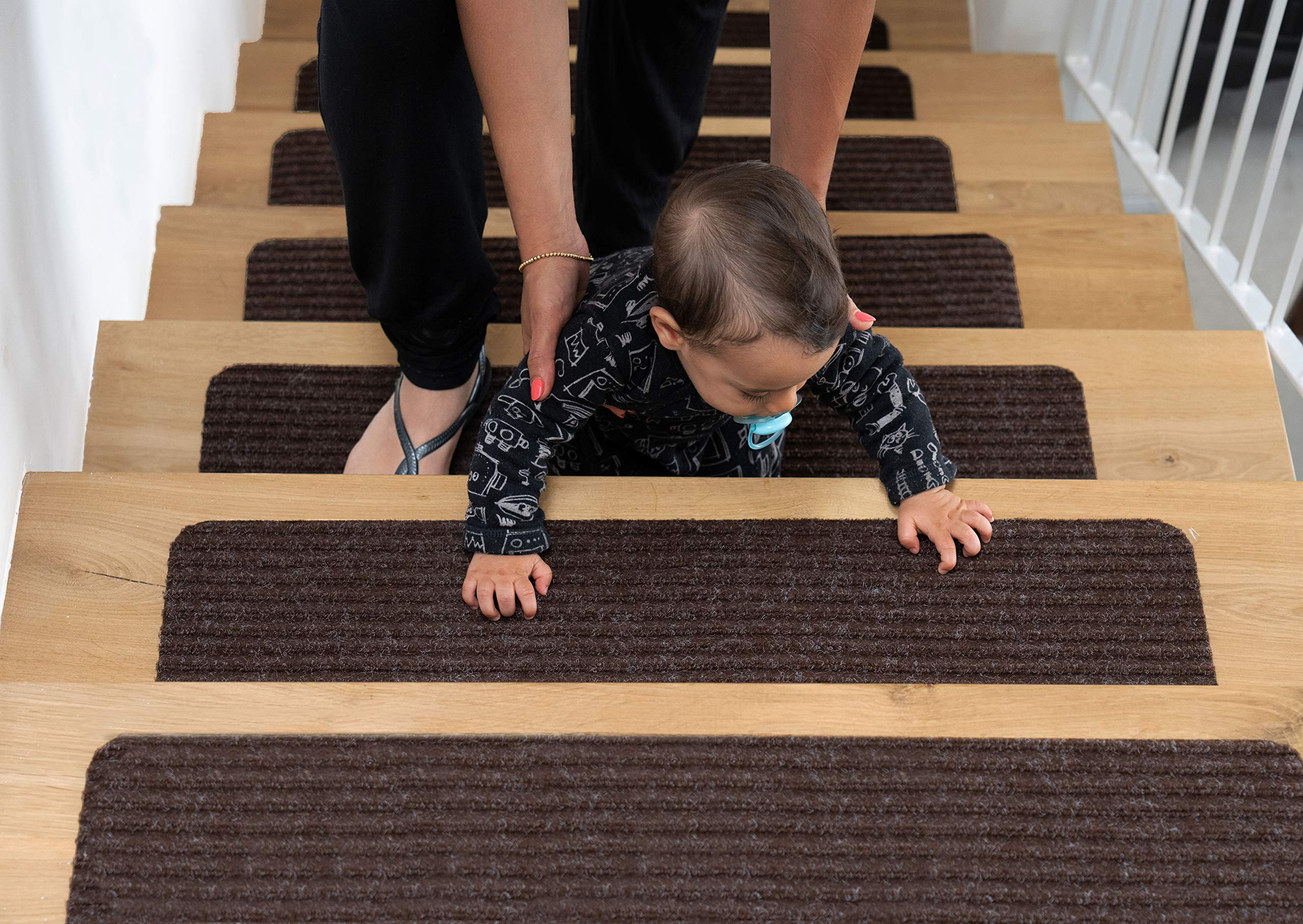 EdenProducts Patent Pending Non Slip Carpet Stair Treads, Set of 15, Rug Non Skid Runner for Grip and Beauty. Safety Slip Resistant for Kids, Elders, and Dogs. 8'' X 30'', Brown, Pre Applied Adhesive by EdenProducts
