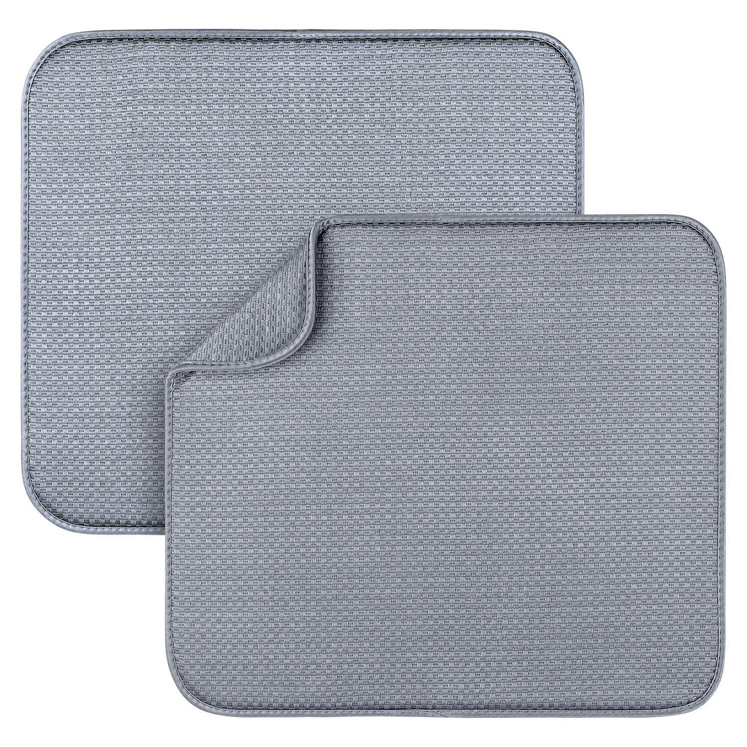 2 Pack Dish Drying Mats for Kitchen, Microfiber Dish Drying Rack Pad, Kitchen Counter Mat - 18X16 Inch by Awpeye