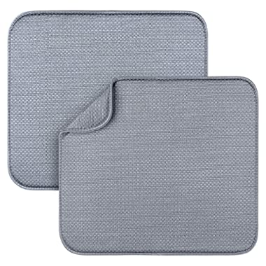 2 Pack Dish Drying Mats for Kitchen, Microfiber Dish Drying Rack Pad, Kitchen Counter Mat - 18X16 Inch