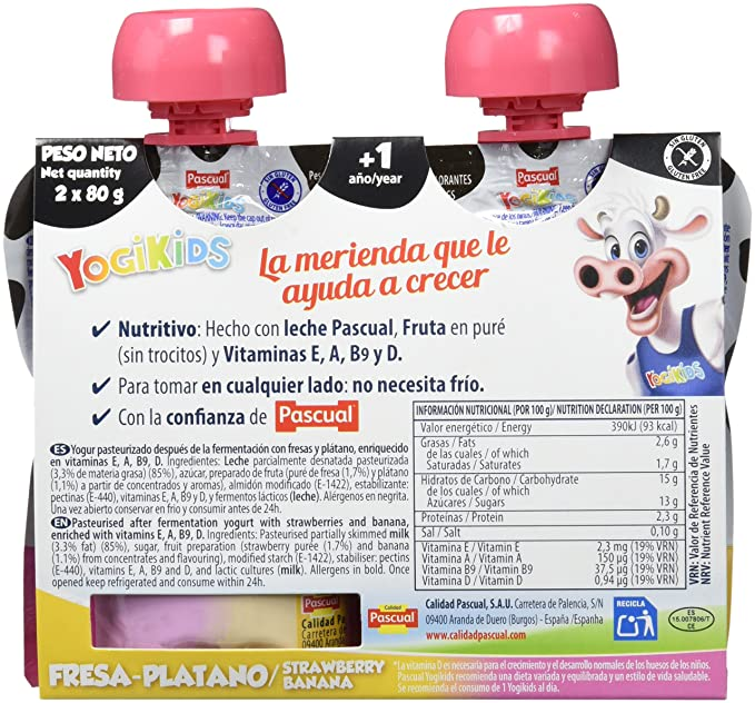 Yogur Pascual Yogikids De Fresa-Plátano Para Llevar Duo 2X80G Caja De 9 Packs: Amazon.es: Alimentación y bebidas