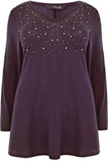 Yours Clothing Women/'s Plus Size Purple Sequin Sweatshirt