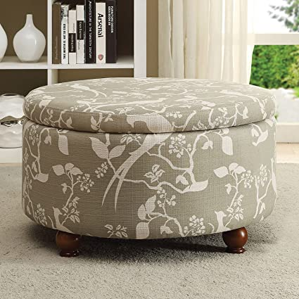 Tremendous Amazon Com Floral Print Fabric Ottoman Bench Durable Wood Caraccident5 Cool Chair Designs And Ideas Caraccident5Info