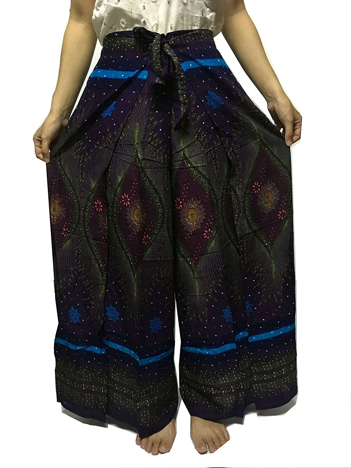 eb5504c7e3d Amazon.com   The Loosefit Thai Wrap Palazzo Pants Wide Open Legs Boho Yoga  Green Navy Blue Feather   Sports   Outdoors