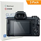 Exuun (2-Pack) Canon EOS M50 Tempered Glass Screen Protector, Optical 9H Hardness 0.3mm Ultra-Thin DSLR Camera Glass for Canon EOS M50