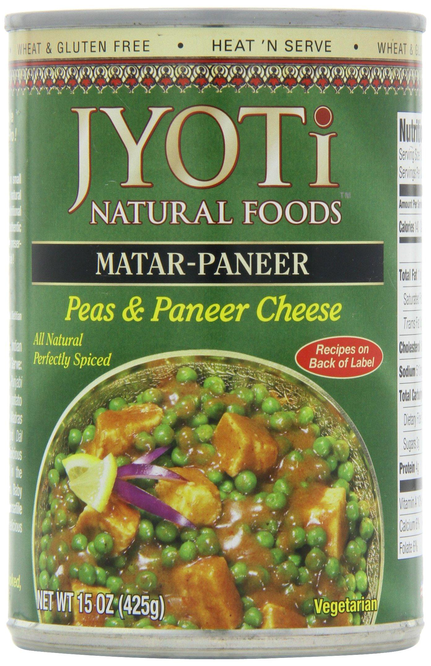 Jyoti Natural Foods Matar Paneer, Peas & Paneer  Cheese, Vegetarian, 425 Gram Cans,  (Pack of 12)