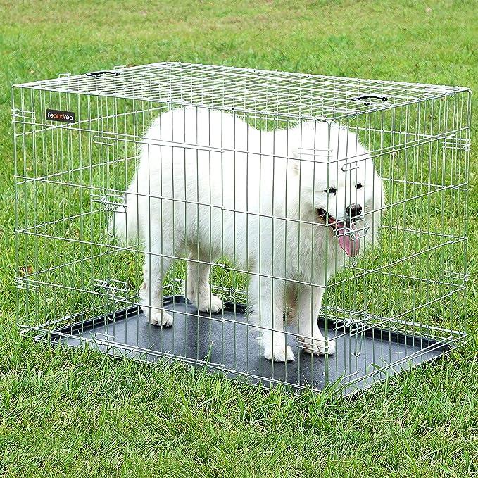 SONGMICS Jaula metálica para Perros Transportín Plegable para Mascotas Plata XXL 106 x 70 x 77,5 PPD42W: Amazon.es: Productos para mascotas