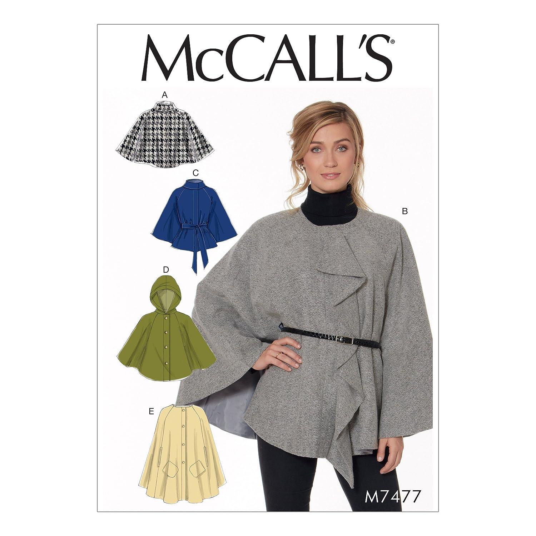 Multi-Colour McCalls Patterns 7477 ZZ,Misses Capes and Belt,Sizes LRG-XXL Tissue 121 x 182 cm