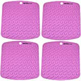 Set of (4) Aarcho Kitchen - Premium Flexible Silicone Pot Holders/Trivets, Durable, Non-slip Pads, Garlic Peelers, Spoon Rests, Multiple Uses (Purple)