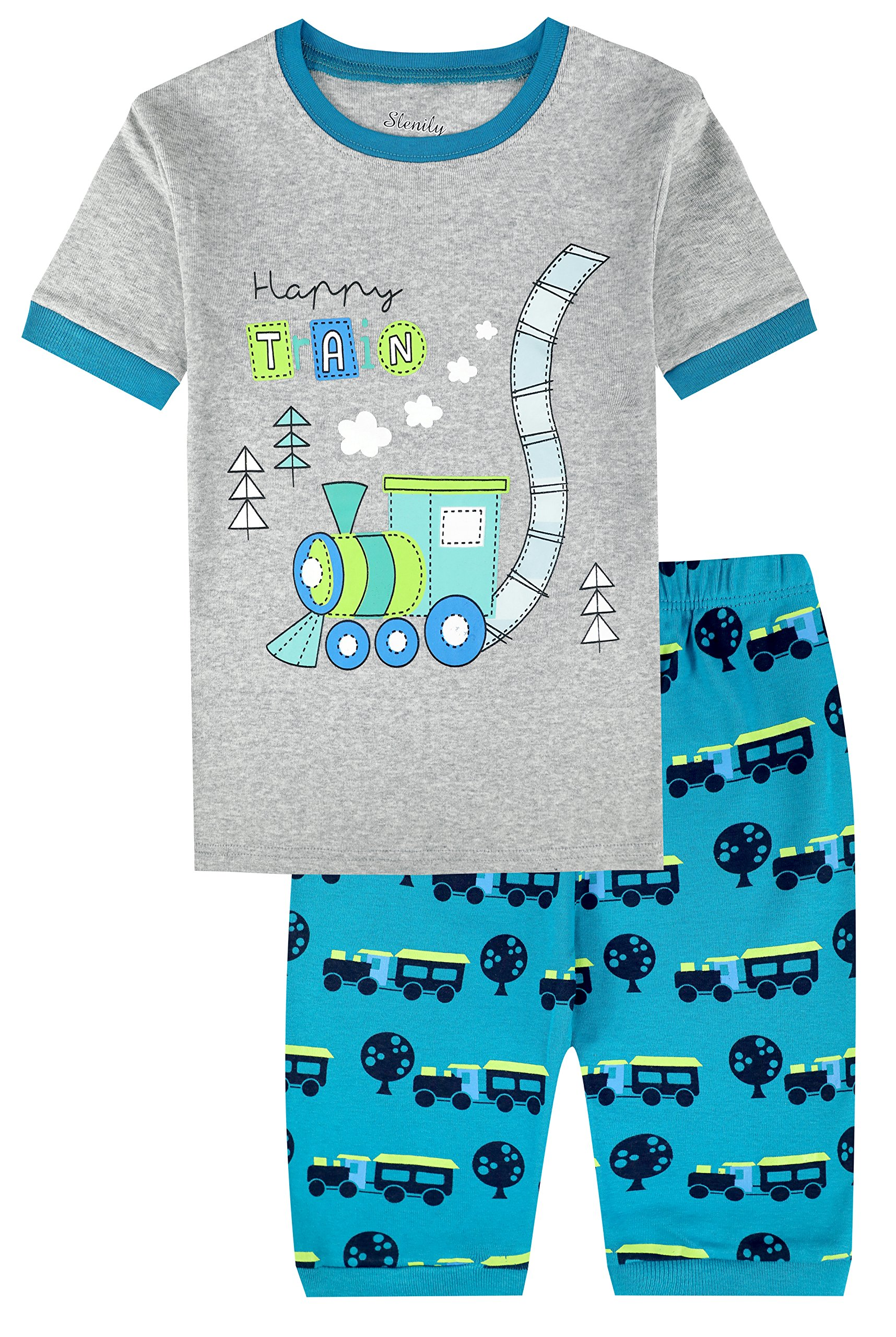 Slenily Boys Pajamas Toddler Sleepwear Clothes T Shirt Pants Set for Kids Size 6