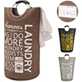 """Caroeas Laundry Basket, 28"""" Collapsible Laundry Hampers with 2 Cards, Aluminum Handles & Separated Bags Anti-dirty Foldable Laundry Bag"""