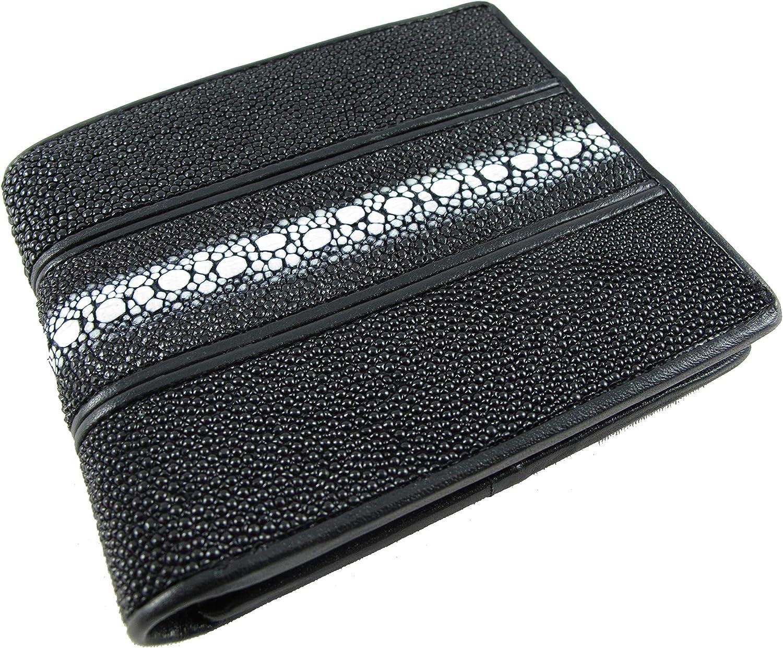 PELGIO Genuine Row Diamond Stingray Skin Leather Bifold Wallet
