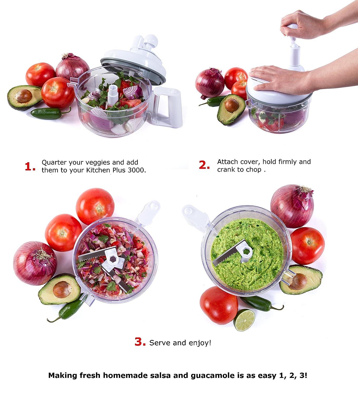 Amazon.com: Kitchen Plus 3000 Food Chopper - 8 in 1 Manual Food ...