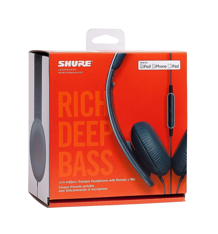 Shure SRH145M+-E, auriculares de diadema de diseño cerrado, con control remoto y micrófono compatibles con iPhone/iPod, portátiles, plegables, ...