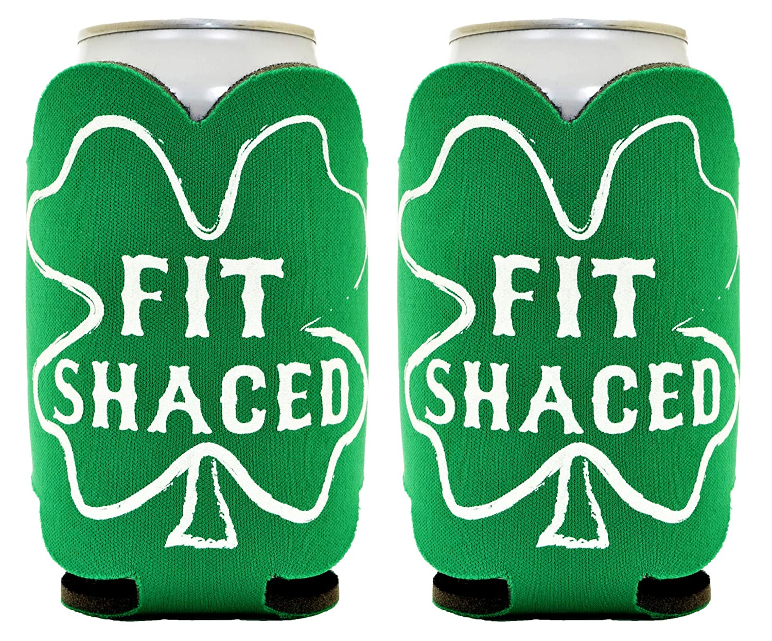 Patricks Day Fit Shaced Party 2 Pack Can Coolies Drink Coolers Kelly Green Funny Beer Coolie St
