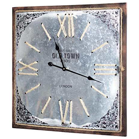 American Art Decor Square Metal Wall Clock Rope Details Roman Numerals Old  Town London Battery Operated