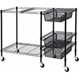 Vertiflex Mobile File Cart with 3 Drawers, 38 x 15.5 x 28 Inches, Black (VF50621)