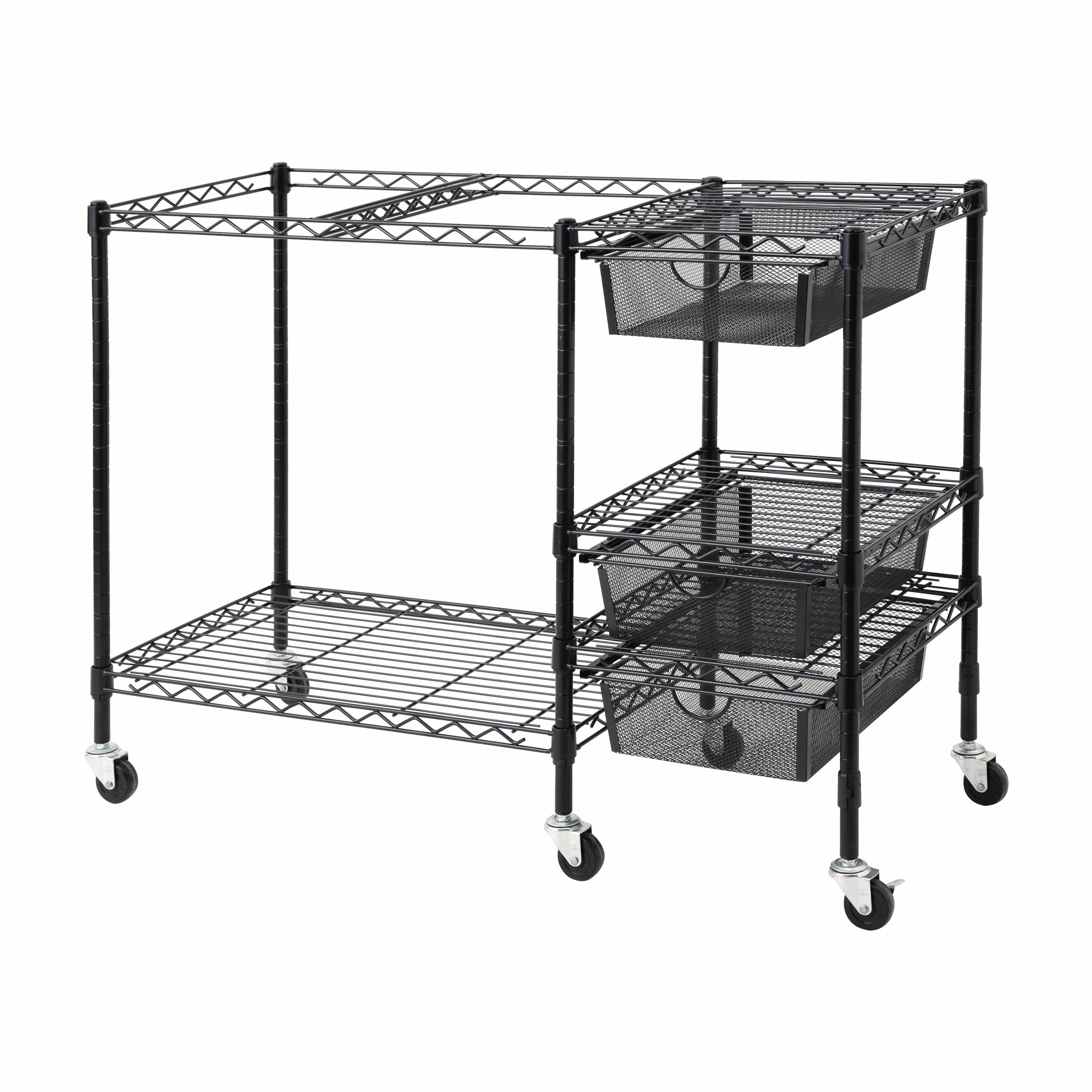 Vertiflex Mobile File Cart with 3 Drawers, 38 x 15.5 x 28 Inches, Black (VF50621) by Vertiflex