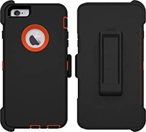 iPhone 6 Plus Case, iPhone 6S Plus Case, ToughBox [Armor Series] [Shock Proof] for Apple iPhone 6 Plus Case [with Screen Protector] [Holster & Belt Clip] (Black   Orange)