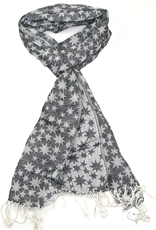 LOVARZI Hombres y mujeres pañuelo - Blanco y negro estrellas bufanda - algodón desierto bufandas: Amazon.es: Ropa y accesorios