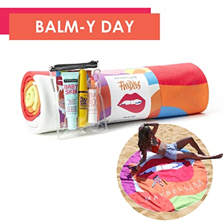 Maybelline New York Limited-Edition Fundles Balm-y Day w/ Volumn' Express The Colossal Mascara, Baby Lips Dr. Rescue, Baby Skin Instant Pore Eraser, and Beach Towel