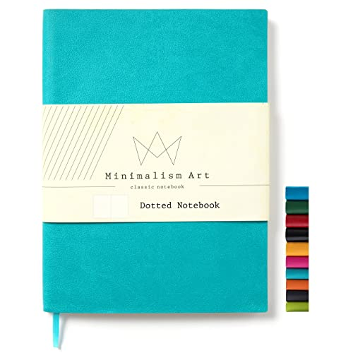 """Minimalism Art   Soft Cover Notebook Journal, Size: 5.8"""" X 8.3"""", A5, Blue, Dotted Grid Page, 192 Pages, Fine PU Leather, Premium Thick Paper - 100gsm   Designed in San Francisco"""