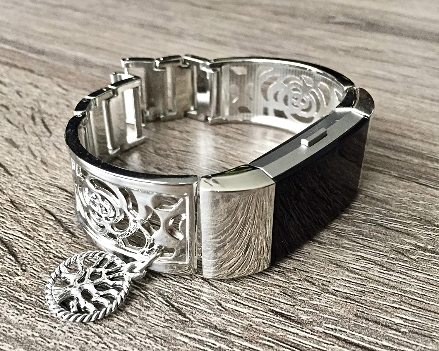 Silver Metal Band For Fitbit Charge 2 Fitness Tracker Accessory Bangle Fitbit Charge 2 Women Bracelet With Silver Vintage Tree Of Life Spiritual Charm Adjustable Size Floral Design Fitbit Jewelry