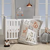 Lambs & Ivy Painted Forest 4-Piece Crib Bedding Set - Gray, Beige, White