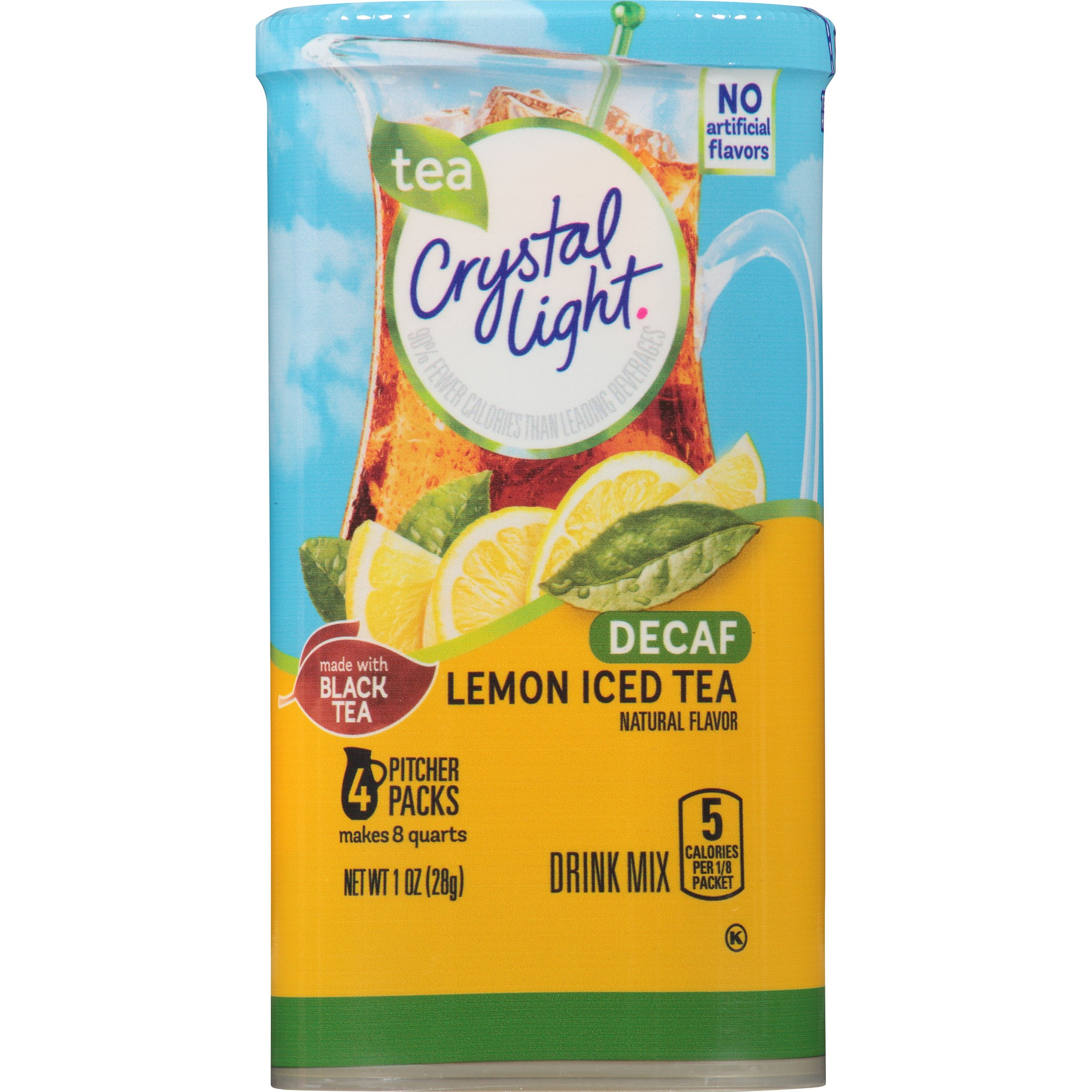 Crystal Light Decaf Lemon Iced Tea Drink Mix (48 Pitcher Packets, 12 Canisters of 4)