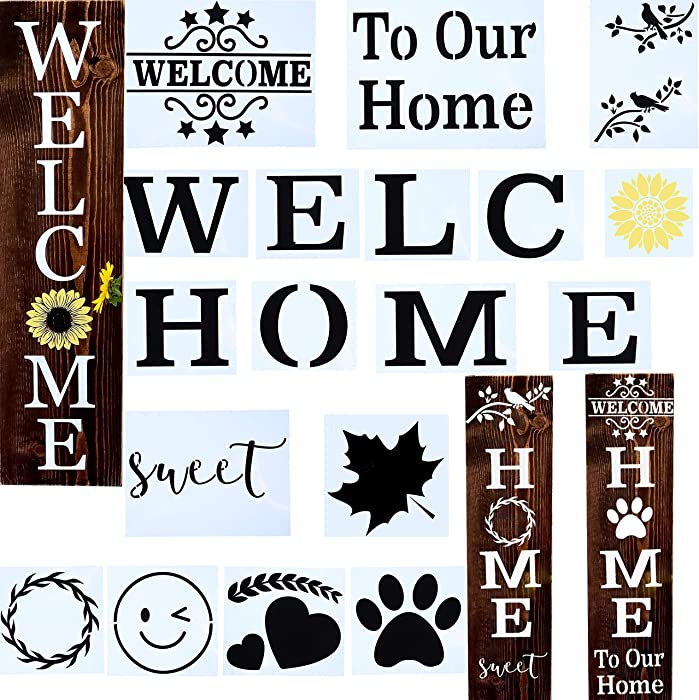 18 PCS Welcome Stencil for Painting on Wood,Home Sign Stencils Reusable Porch Sign and Front Door Vertical Welcome Comes with Stencil-Sunflower,Dog Paw Stencil and orther Pattern