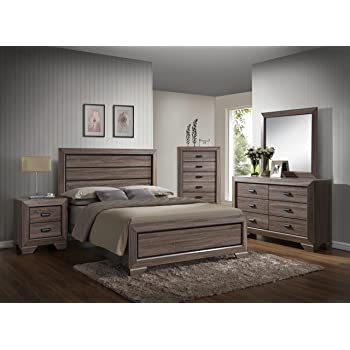 gtu furniture lyndon 5pc weathered grey panel bedroom set queen bed nightstand dresser mirror and chest - Grey Bedroom Set