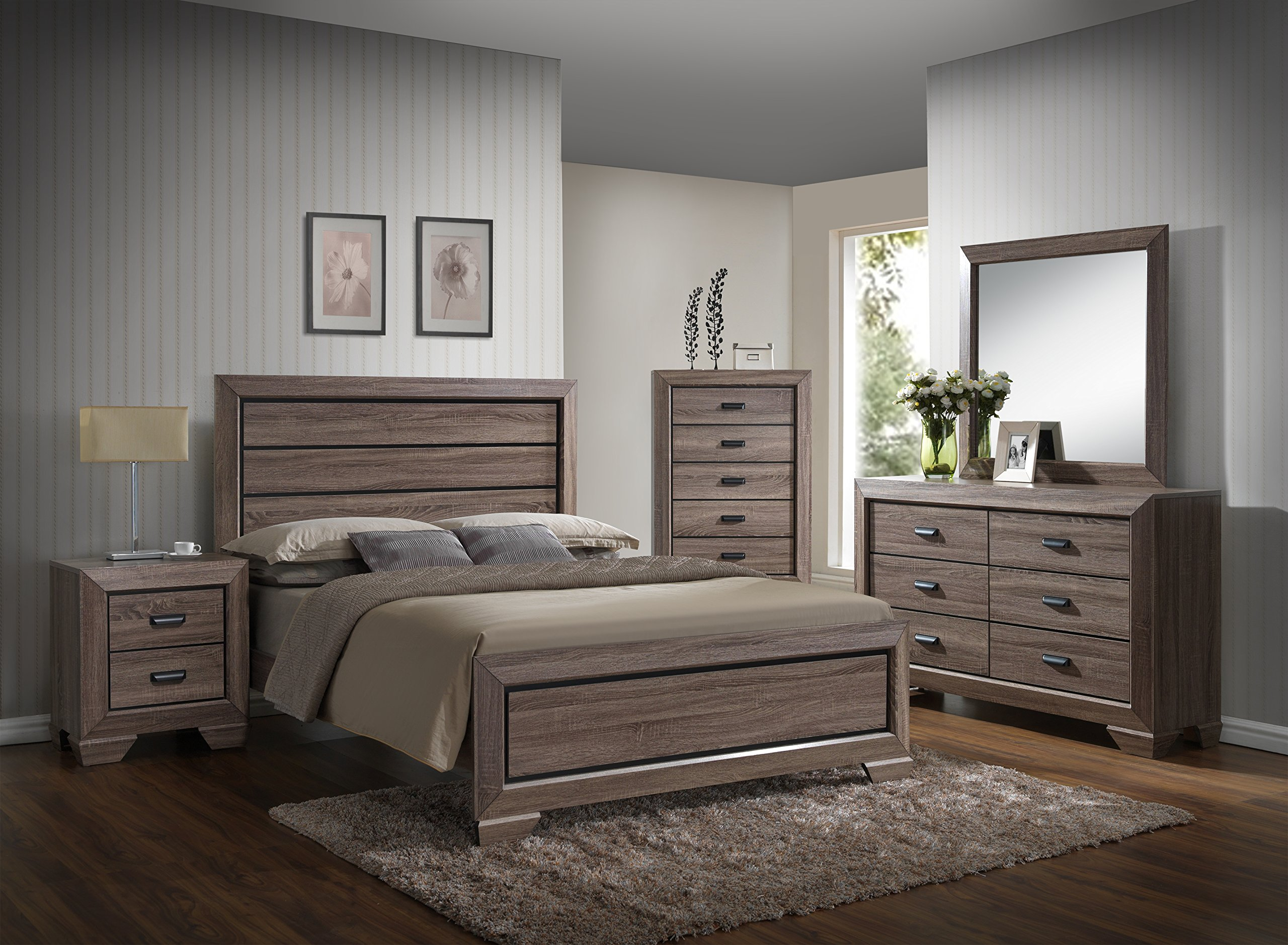 GTU Furniture Lyndon 5Pc Weathered Grey Panel Bedroom Set (Queen Bed, Nightstand,Dresser,Mirror and Chest)