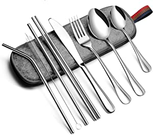 EvaCrocK Travel Utensils   9-Piece Portable Camping Cutlery Set Including Knife Fork Spoons Straws Chopsticks Cleaning Brush, Reusable Utensils Stainless Steel Travel Flatware Set [9 Piece Silver]
