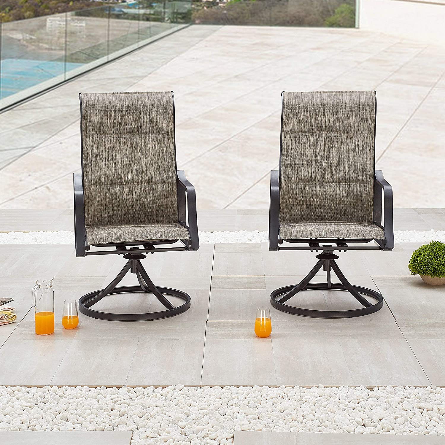 LOKATSE HOME Outdoor Patio Swivel Chair Set Sling(Set of 2), 2, Grey : Garden & Outdoor