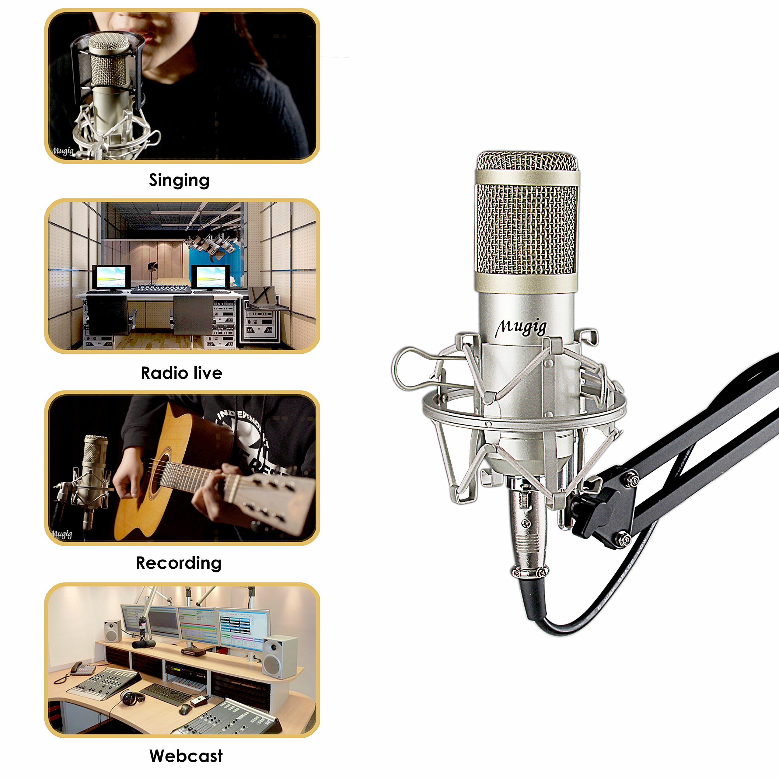 Mugig Condenser Microphone for Recording, Singing, Professional Studio Broadcasting Recording Mic Kit with Boom Arm Stand, Shock Mount and Pop Filter