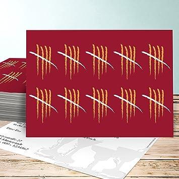 Einladungskarten 50 Geburtstag Lustig, Strichliste 50 5 Karten, Horizontal  Einfach 148x105 Inkl. Weiße