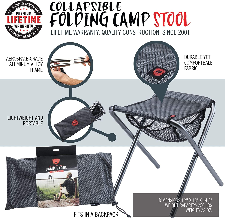 Micro Camp Stool 12 x 13 x 14.5, Black//Silver Grand Trunk