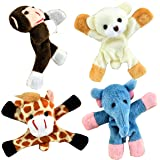 4 Refrigerator Magnets- Wild Animals (Monkey, Bear, Giraffe and Elephant), Plush Animal Magnet For Refrigerator, Dry Erase Board Or Any Metal Surface, Fridge Magnets, Dry Erase Board Magnets