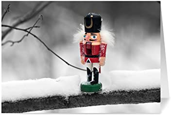 Holiday Cards - One Jade Lane - Nutcracker, 5x7, Heavy Stock, Set of 18 Happy New Year Cards & Envelopes, Seasons Greetings Cards.