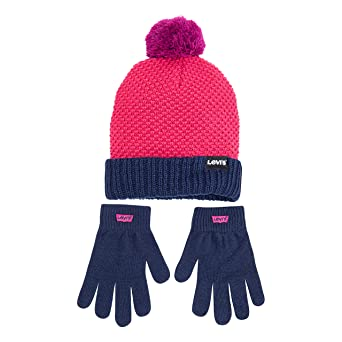 Levi's Girls' Big Tech Beanie and Glove Set, Raspberry Sorbet, O/S