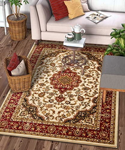 Well Woven Barclay Medallion Kashan Ivory Traditional Area Rug 6'7'' X 9'6''