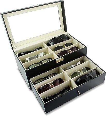 Schwarz ca Grinscard Brillenbox zur Aufbewahrung von 12 Brillen 34 x 19 x 16 cm Sonnenbrillen Pr/äsentation Showcase
