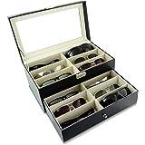 Boîte à lunettes pour ranger 12 verres - Noir environ 34 x 19 x 16 cm - Présentation et rangement lunettes de soleil