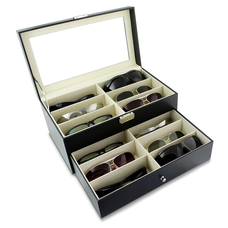 Contenitore per 12 occhiali - Nero 34 x 19 x 16 cm - Cofanetto a due piani per l'esposizione di occhiali - Grinscard