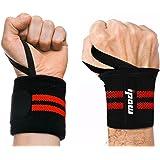[2 Pièce] Ipow Protège-poignet sport bracelet main-poignet Ceinture protecteur pour gymnastique culturiste/musculation/ aérobic/sports/body-building, Rouge