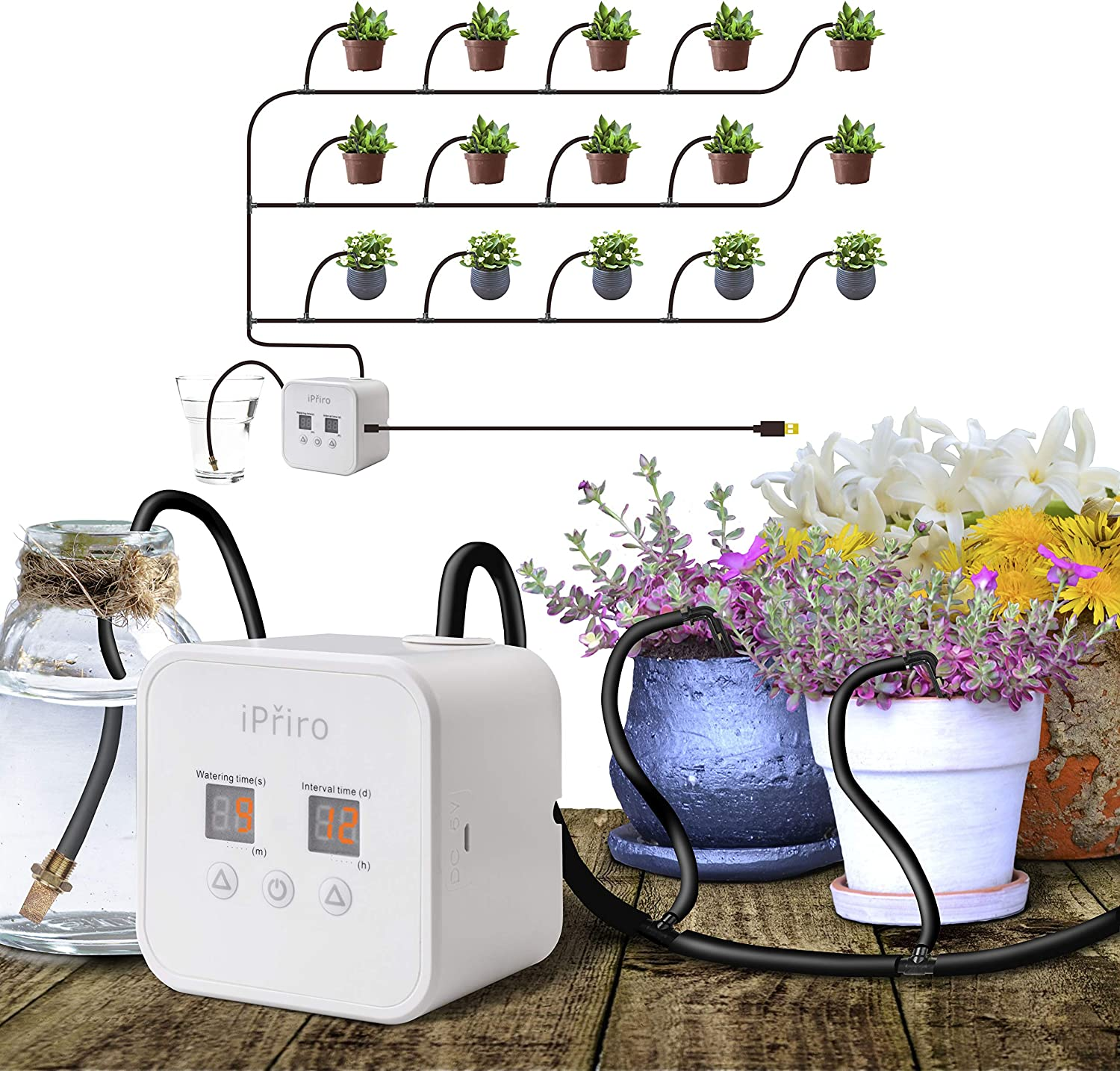 iPřiro Houseplants Automatic Watering System,Automated Watering Device with 30-Day Programmable Timer and 5V USB Charging Cable, for 15 Potted Plants Indoor