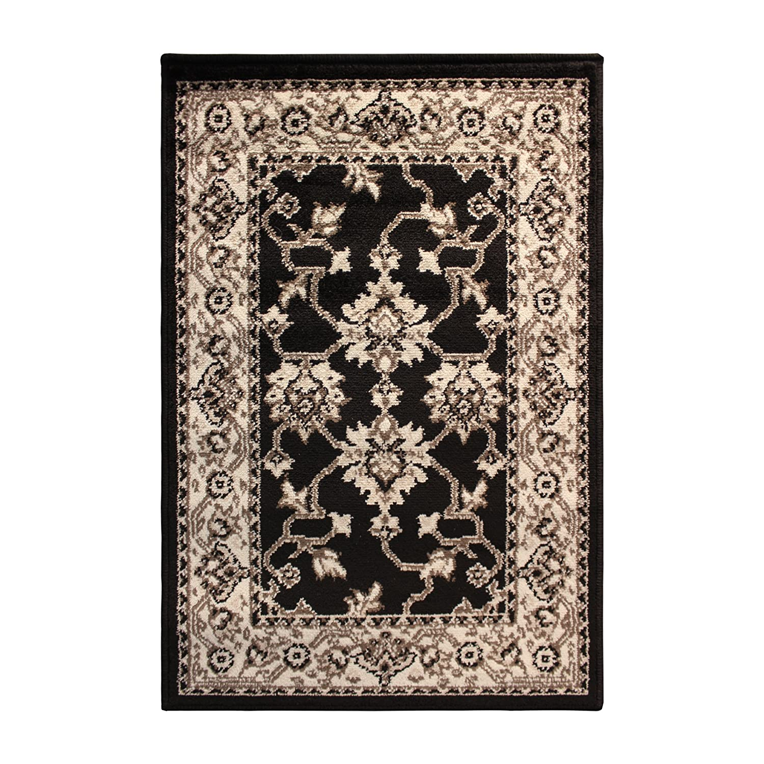 Superior Elegant Kingfield Collection Area Rug, 8mm Pile Height with Jute Backing, Classic Bordered Rug Design, Anti-Static, Water-Repellent Rugs - Black, 2' x 3' Rug 2' x 3' Rug 2X3RUG-KINGFIELD-BK